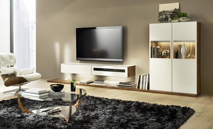 Composition TV en verre et bois