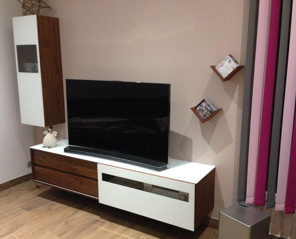 Meuble Tv En Noyer # Meuble Tv Noyer Et Blanc
